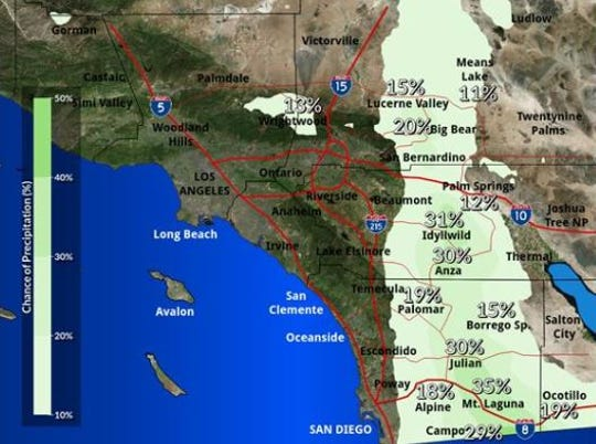 The rain forecast skirts along the Palm Springs area on Wednesday