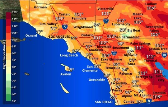 Forecasters say it will be 111 in Palm Springs on Wednesday.