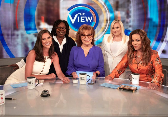 """The View"" returned on Tuesday, Sept. 23, with Abby Huntsman (from left), Whoopi Goldberg, Joy Behar, Meghan McCain and Sunny Hostin."