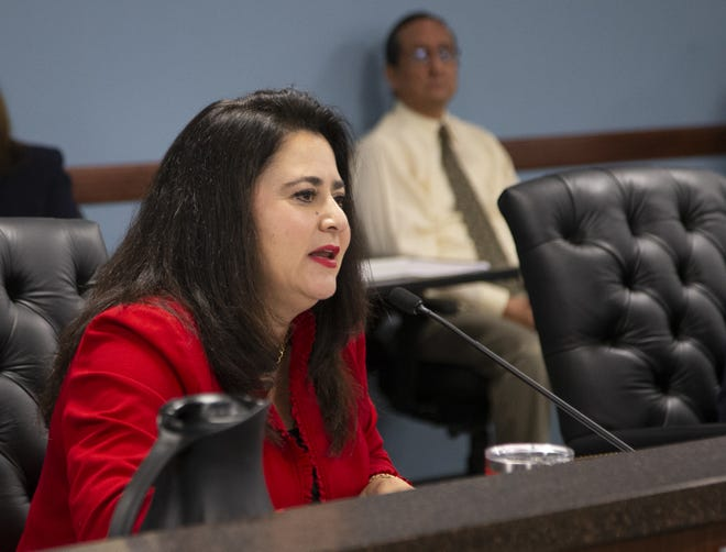 Arizona Corporation Commissioner Lea Marquez Peterson makes an opening statement as Don Brandt, CEO of Arizona Public Service and its parent company, Pinnacle West Capital Corp., appears at the Arizona Corporation Commission in Phoenix on Sept. 4, 2019.