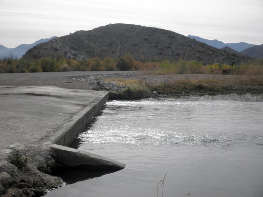 Monument Hill as seen from the confluence of the Salt and Gila rivers.