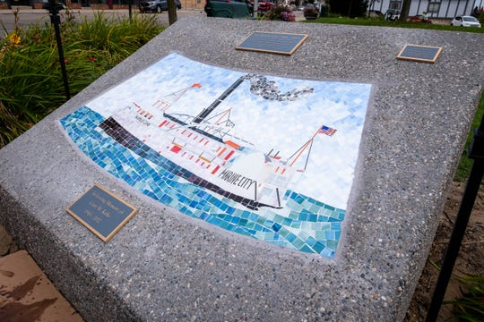 A tile mosaic of the Mary steamship is set in stone in Marine City's Drake Park. Several other mosaics of different ships made in Marine City are being installed in other parks throughout downtown.