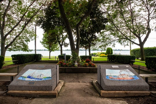 Tile mosaics of two ships built in Marine City are mounted in stone in one of the parks in Marine City.