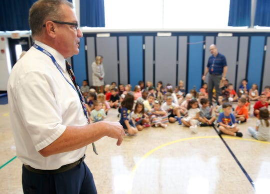 Millbrook Central School District superintendent Philip D'Angelo speaks to kindergarteners during an assembly at Elm Drive Elementary School on September 4, 2019.