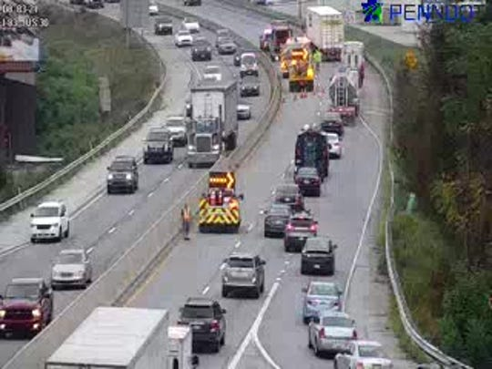 A crash is closing one lane on Interstate 83 near Route 30 Wednesday morning. The lane closure caused a nearly four-mile backup. Photo courtesy of 511pa.com.