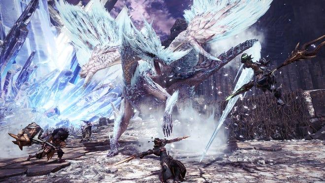 Four hunters vs. Velkhana in Monster Hunter World Iceborne for PS4, Xbox One and PC.