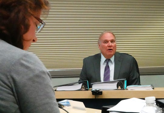 John Hadder, executive director of Great Basin Resource Watch, answers questions from attorney Julie Cavanaugh-Bill before the Nevada State Environmental Commission on Sept. 4, 2019. The commission heard an appeal of permits for the proposed Mt. Hope Molybdenum Mine near Eureka.