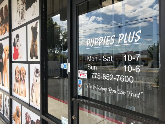 The storefront of Puppies Plus on South Virginia Street on Sept. 4, 2019. The owners of the store have been indicted on several charges, including animal torture.