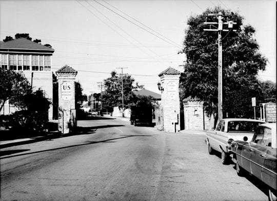 The high street gate to the Presidio of Monterey prior to its closure.