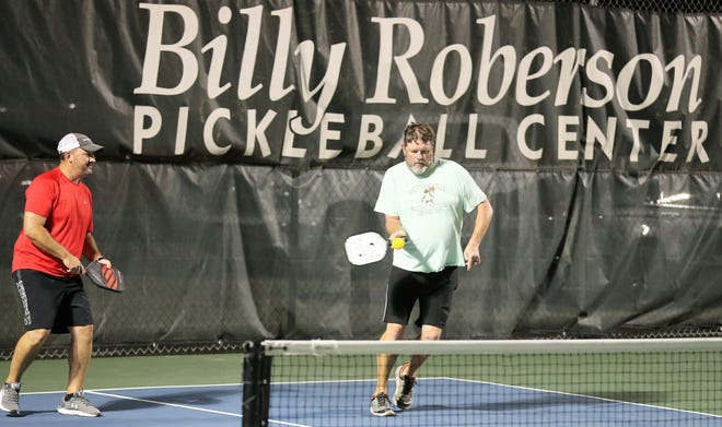 A pickleball men's doubles team competes during league play at Bentwood Country Club Tuesday, Sept. 3, 2019. The 2019 Slamfest will feature tennis and pickleball at Bentwood on Saturday and Sunday. Four top pickleball pros will be in town.