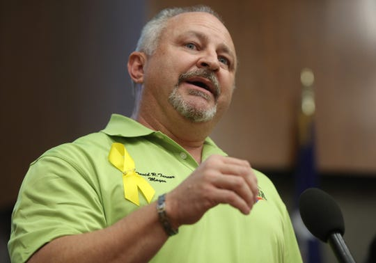 David Turner, mayor of Odessa, speaks during a press conference at city hall Tuesday, September 3, 2019, about the recent shootings that left seven people dead in Odessa and Midland.