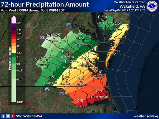 National Weather Service's 72-hour Precipitation Forecast (Sept. 4, 1:20 p.m.)