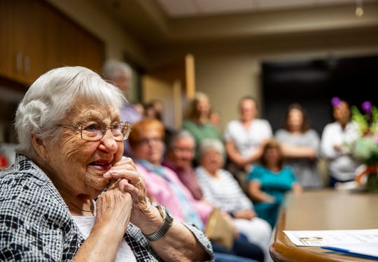 "99-year-old Grace Powderly logs her final volunteer hours at Falls Community Health, Wednesday, Sept. 4, 2019. Powderly worked for the city of Sioux falls for 36 years. ""People shouldn't be thanking me, I should be thanking them,"" Powderly said."