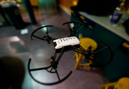 Flying a drone is one of the many interactive exhibits guests can use during the 4th annual Night at the Museum, which raises funding for the Discovery Center's STEM Education for All program on Saturday.