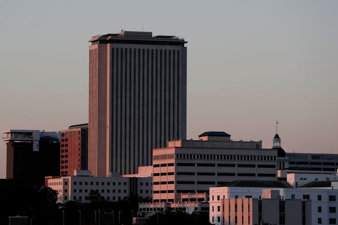 The sun sets on the Tallahassee skyline Tuesday, August 3, 2019.