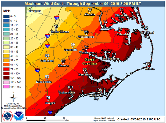 Maximum wind gusts through Sept. 6.