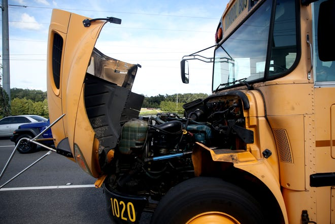 A Leon County School bus parked on Capital Circle Northeast after a bus driver realized smoke was billowing from the exhaust pipe Wednesday, Sept. 4, 2019. Students were safely removed and transferred to a different bus.