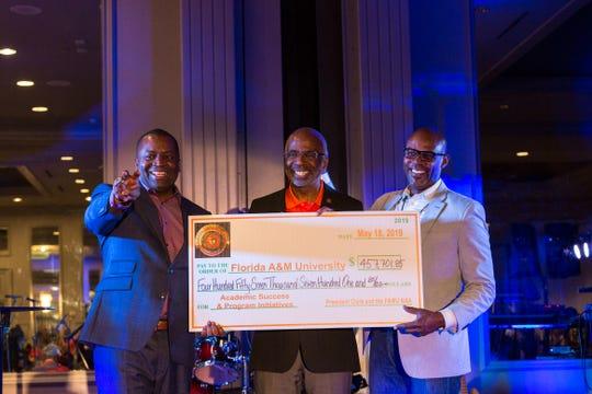 (L-R): FAMU National Alumni Association President Col. Greg Clark; FAMU President Larry Robinson and Jemal O. Gibson, FAMU Foundation Board of Directors at annual alumni convention in April 2019.