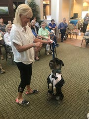 A furry fashion show model delights the audience with tricks at the Doggie Fashion Show presented by the Humane Society of the Treasure Coast at the Visiting Nurse Association of Florida's Memory Café program at Grand Oaks of Jensen Beach.
