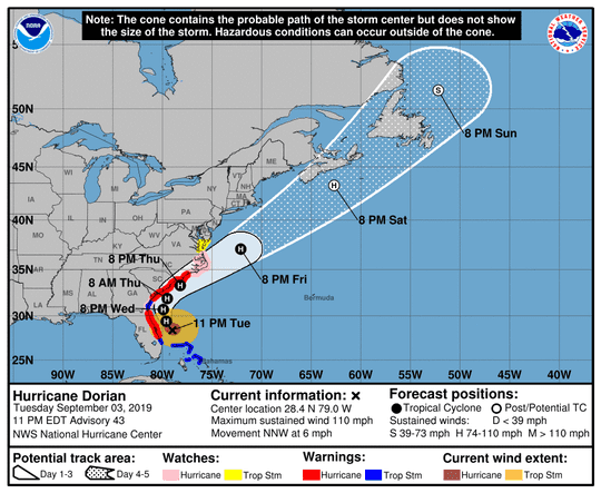 The projected path of Hurricane Dorian at 11 p.m. Tuesday, Sept. 3, 2019.