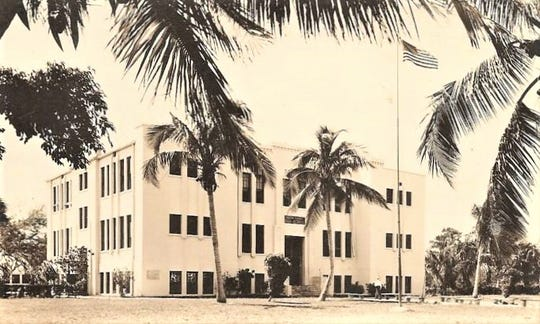 Stuart High School in the 1940-50s. The Arts Council is hoping to preserve and transform the building into a new cultural center.