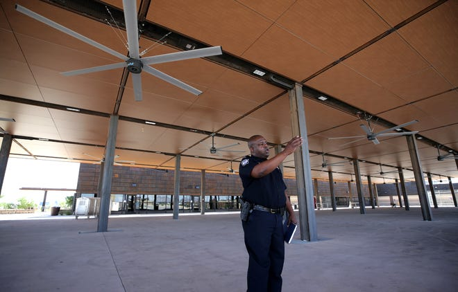 Columbus, New Mexico Port Director Tony Hall shows the commercial vehicle inspection area at the new $85.6 million port of entry between Palomas, Mexico and Columbus, New Mexico.