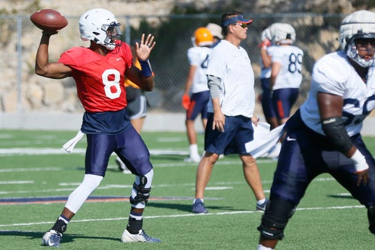UTEP quarterback Brandon Jones during practice Wednesday, Sept. 4, at Glory Field in El Paso.