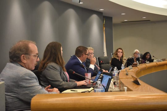 Members of the Conejo Valley Unified School District Board of Education discuss an issue in this file photo.