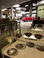 Samples of Mullin Estate Wines are seen during a by-invitation tasting at the Mullin Automotive Museum in Oxnard. The wines will be available online, The Mullin Wine Bar in Los Angeles and COAST Big Sur.