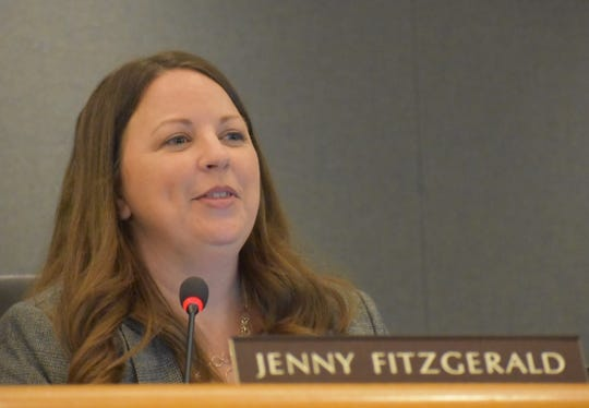 Trustee Jenny Fitzgerald reacts during a Conejo Valley Unified School District Board of Education meeting Tuesday.