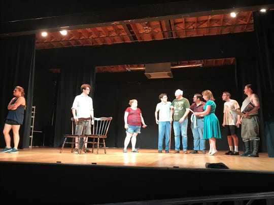 "Katie Elizabeth Hughes, Ryan Dailey, Rachael Smith, Andrew Fralinger, John Krug, Ryan Crabtree, Maura Jarve, Bradley Marcus and Dominic Ciarrocchi rehearse a scene for For the Whim's production of ""Twelfth Night; Or, What You Will."""