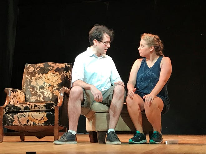 """Ryan Dailey as Duke Orsino and Katie Elizabeth Hughes as Viola rehearse a scene for For the Whim's production of """"Twelfth Night; Or, What You Will."""""""