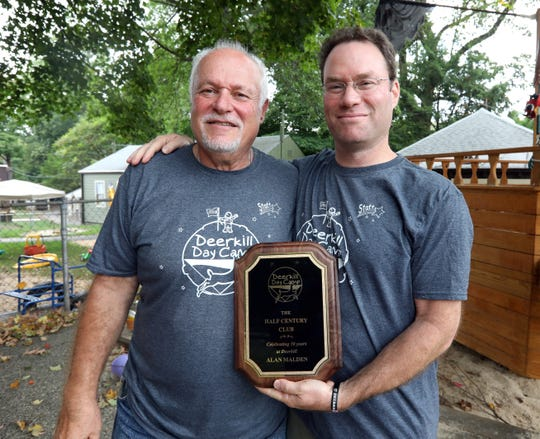 Alan Malden, left, retired at the end of this summer after 50 years as Camp Director at Deerkill Day Camp in Suffern Sept. 4, 2019. At right is Todd Rothman, camp owner and director .