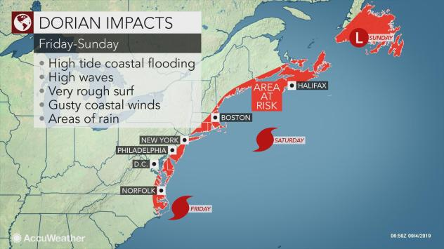 Hurricane Dorian could impact New York's weather.