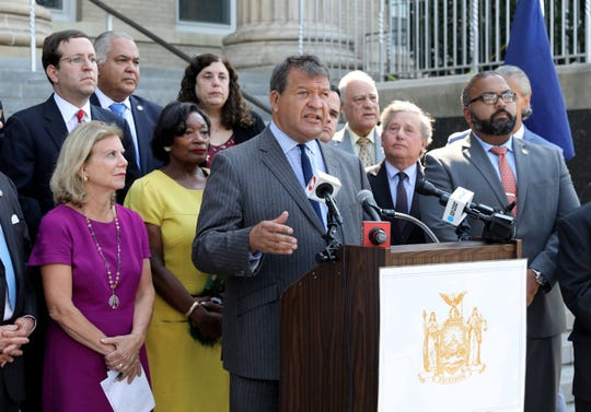 Westchester County Executive George Latimer talks about the Verizon plan to eliminate RNN's local FIOS1 News from their service, during a press conference outside of New Rochelle City Hall, Sept. 4, 2019.
