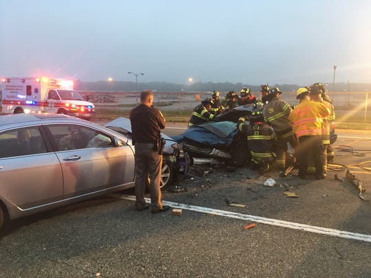 Two women were injured Wednesday morning after their cars collided head-on.