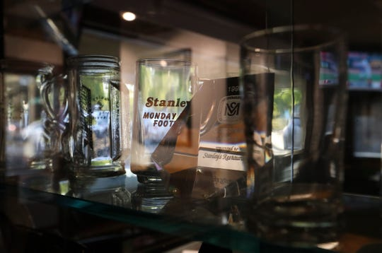 Souvenir glassware from Stanley's Tavern history are on display. The restaurant at Foulk and Grubb Roads has grown with the surrounding area.