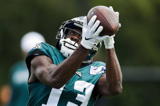 Philadelphia Eagles wide receiver Nelson Agholor catches a pass at the NFL football team's practice facility in Philadelphia, Wednesday, Sept. 4.