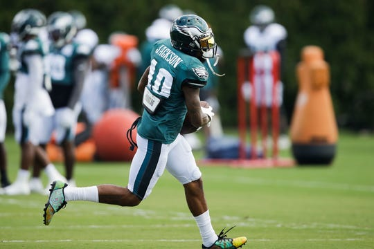 Philadelphia Eagles wide receiver DeSean Jackson runs with the ball at the NFL football team's practice facility in Philadelphia, Wednesday, Sept. 4.