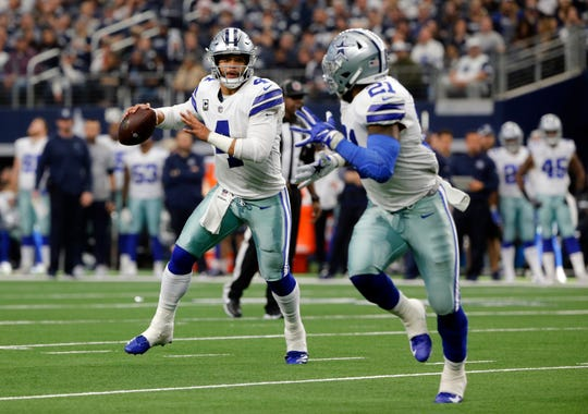 The Dallas Cowboys made Ezekiel Elliott (21) the highest-paid running back in the NFL alongside the L.A. Rams' Todd Gurley. Is quarterback Dak Prescott next to get a contract extension?