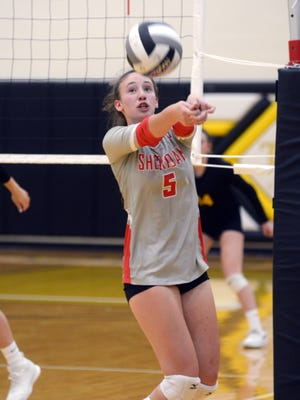Sheridan's Grace Conrad sets the ball against Tri-Valley in a match from last season. Conrad is one of several seniors back for the defending MVL and district champions.