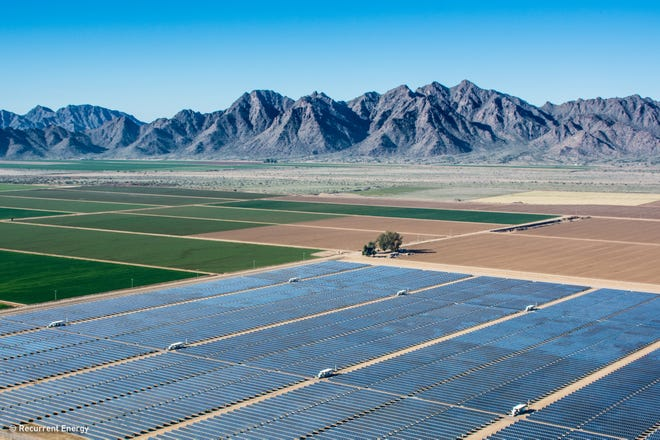 The Gillespie solar installation near the town of Buckeye in Maricopa County, Arizona. The installation produces 20 megawatts of electricity and is owned by Recurrent Energy.