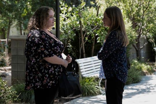 "Rape survivor Amber (Danielle Macdonald) and Karen (Meritt Wever) in a scene from Netflix's ""Unbelievable."""