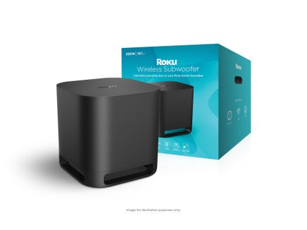 The Roku Wireless Subwoofer ($179.99), available next month, adds bass to your streaming video experience.