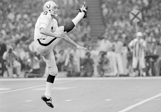 Oakland Raiders punter, Ray Guy, is pictured kicking during the Super Bowl at the Superdome in New Orleans, Jan. 25, 1981.