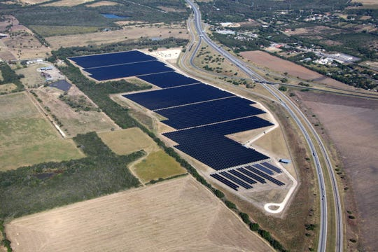 Blue Wing solar array installation, San Antonio, Texas. The facility produces 16 megawatts of electricity and is owned by CPS Energy.