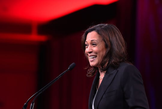 2020 US Democratic presidential hopeful Sen. Kamala Harris or California speaks during the Democratic National Committee's summer meeting in San Francisco, Calif., on Aug. 23, 2019.