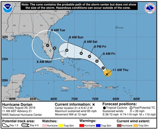 An Aug. 29 map of Hurricane Dorian's projected path.