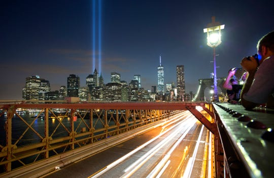 The Tribute in Light art instillation in New York City in 2014 remembering the 9/11 attacks.