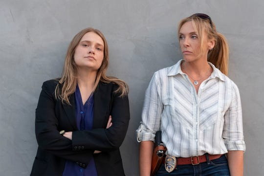 "Merritt Wever as Karen and Toni Collette as Grace in ""Unbelievable."""